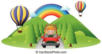pojke, drivande, in, röd bil