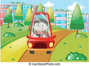 pojke, drivande, röd bil, i park