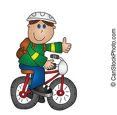 pojke, en cykel