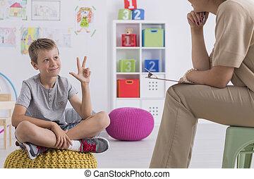 pojke, enumerating, något, under, terapi