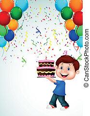pojke, födelsedag, tecknad film, tårta