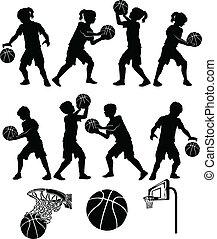 pojke, flicka, basketboll, silhuett, unge