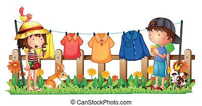 pojke, flicka, kläder, trädgård, hängande
