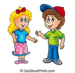 pojke, flicka, tecknad film, lycklig