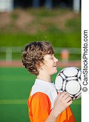 pojke, fotboll, öva, ung