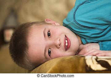 pojke, foto, ungt se, kamera., förtjusande, lycklig