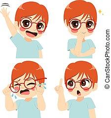 pojke, glasögon, uttryck, ansikte