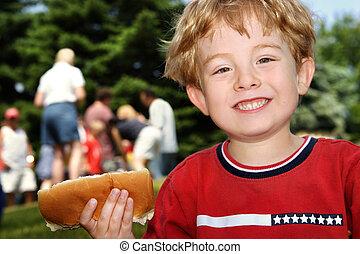 pojke, grannskap, ung, hund, varm, holdingen, picknicken