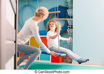 pojke, ha, sensorisk, integration, klassificera