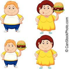pojke, hamburgare, stor, fett, flicka, tecknad film
