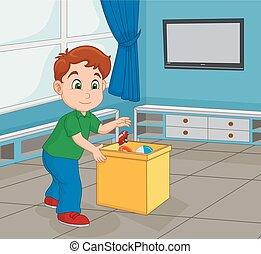 pojke, hans, behållare, uppe, leksak, plockning, liten knatte, lager