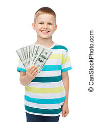 pojke, hans, pengar, dollar, kontanter, hålla lämna, le