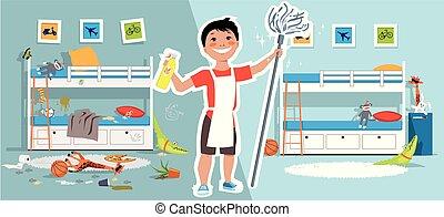 pojke, hans, rensning, rum