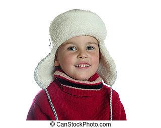 pojke, hatt, earflap