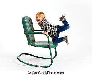 pojke, havande kul, på, stol
