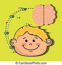 pojke, hjärna, idé, tecknad film