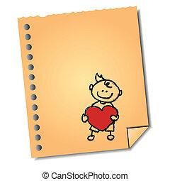 pojke, hjärta, anteckna, hand-drawn, papper, holdingen, tecknad film
