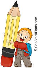 pojke, holdingen, blyertspenna