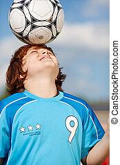 Pojke, huvud, hans, boll, Balansering, fotboll