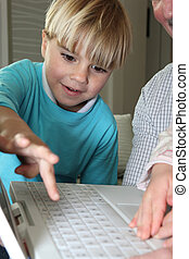 pojke, inlärning, dator, expertis