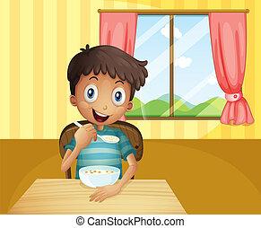 pojke, insida, spannmål, äta, hus