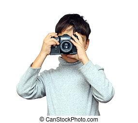 pojke, kamera, svart, photographing, slr
