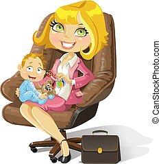 pojke, kontor, affär, mamma, behandla som ett barn stolen