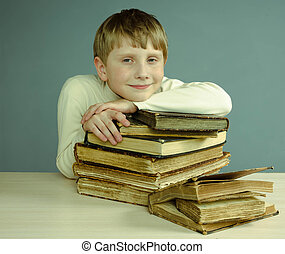 pojke läsa, bok, årgång