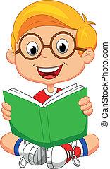 pojke läsa, ung, bok, tecknad film