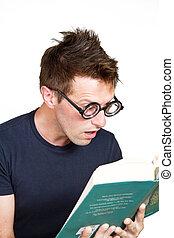 pojke, läser, bok, förvåna