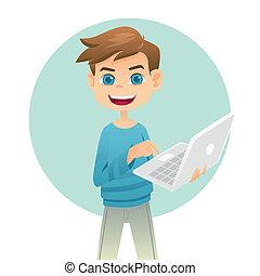 pojke, laptop, holdingen