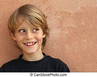 pojke, le, fräck, barn, unge, eller, lycklig