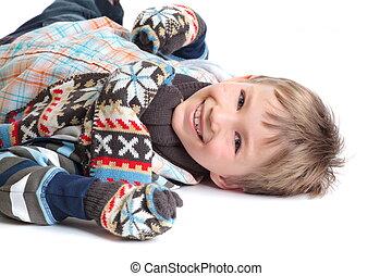 pojke, le, varm, kläder