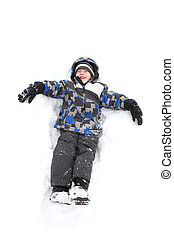 pojke, leka, ung, snö