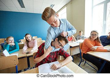 pojke, lidande, klasskamrat, student, gyckel