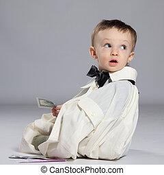 pojke, liten knatte, affärsman