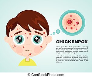 pojke, litet, ansikte, sjuk, vattkoppor, unge