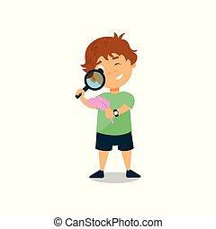 pojke, litet, illustration, titta glas, vektor, genom, bakgrund, vit, förstorar