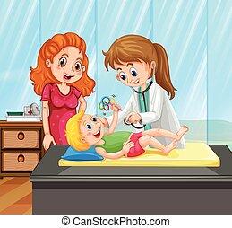 pojke, litet, läkare, skänka, behandling, kvinnlig