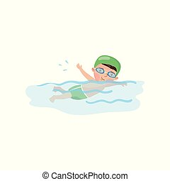 pojke, litet, lurar, slå samman, simmare, illustration, vektor, aktivitet, simning, tecknad film, fysisk