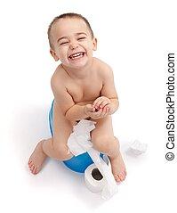 pojke, litet, lycklig, potta, sittande