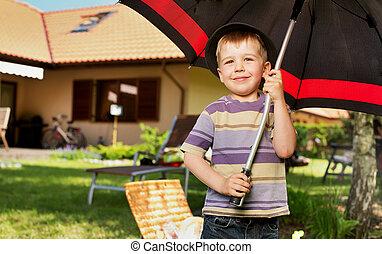Pojke, litet, paraply, avbild, Stor