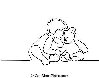 pojke, litet, sittande, björn, teddy