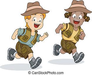 pojke, lurar, spring, äventyr, safari, flicka