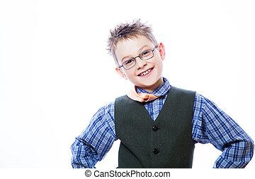 pojke, lycklig, förtjusande, ung, foto
