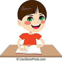 pojke, lycklig, student, skrift