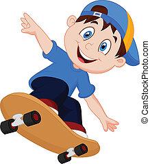 pojke, lycklig, tecknad film, skateboard