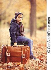 pojke, med, a, resväska