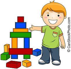 pojke, med, leksak spärrar