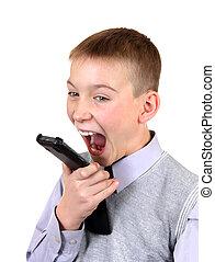 pojke, mobiltelefon